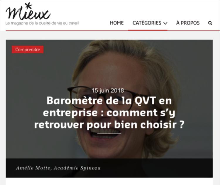 Amélie Motte parle de mesure un Bonheur au Travail dans le e-magazine «Mieux»